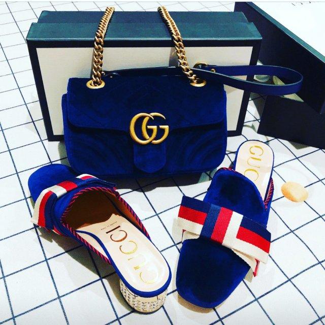 包包鞋子一个色打卡1 宝蓝色