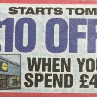 Lidl折扣券🇬🇧满40镑减10镑...