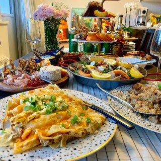芝士控,西班牙海鲜饭,火腿,番茄芝士,水果蛋糕塔