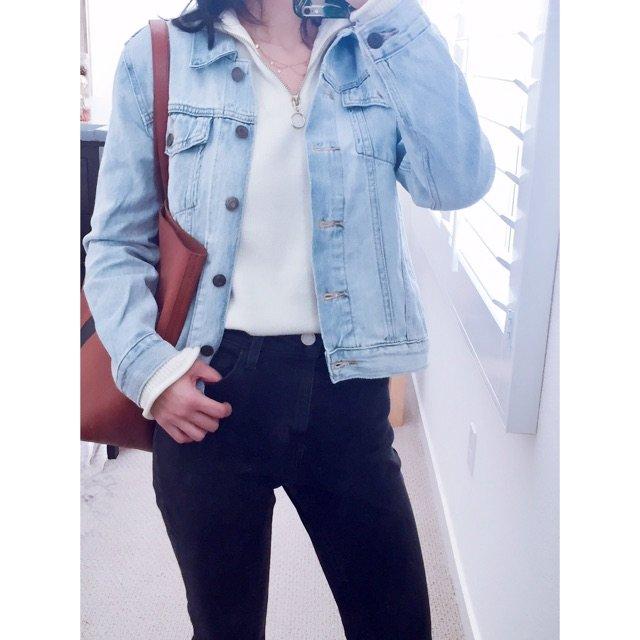 来个jeans on jeans的...