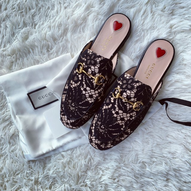 D5-2 黑色蕾丝Gucci拖鞋