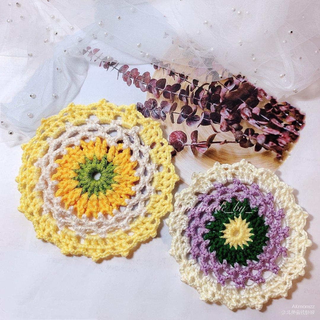 钩织|充满夏天气息的混色系蕾丝杯垫