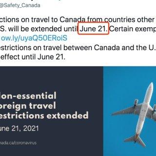 延长!加美及其他国家边境限制到6月21日...