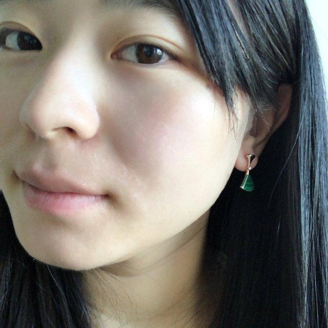 宝格丽新款绿扇子孔雀石耳环