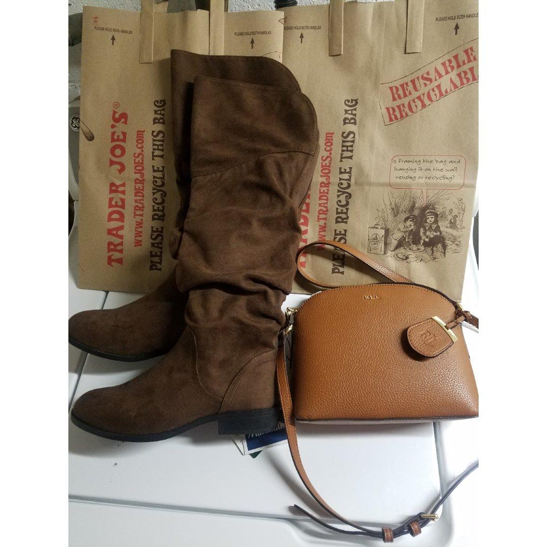 棕色系-真皮包包+靴子