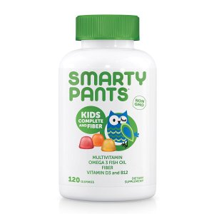 $13.06SmartyPants Kids Complete Fiber Multivitamin Omega 3 EPA and DHA Fish Oil Vitamin D3 Methyl B12 Dietary Supplements, 120 Counts