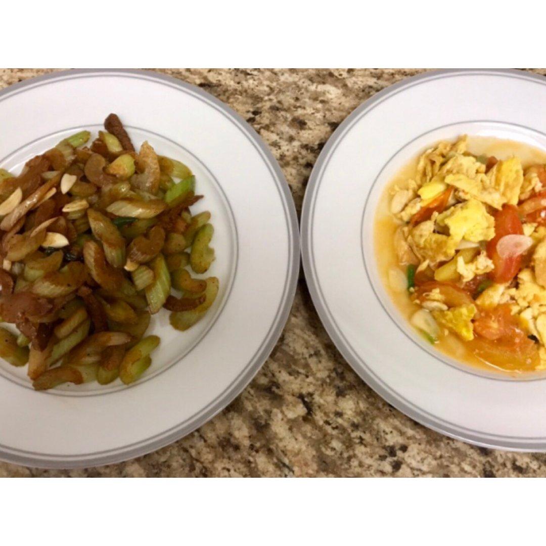 🌤三餐吃什么🌤芹菜肉与番茄蛋