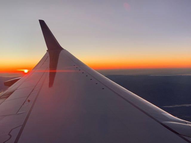 飞机上看夕阳