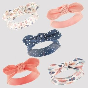 Hudson Baby Girls' 5pk Headband Set - Pink/Coral 0-12M : Target
