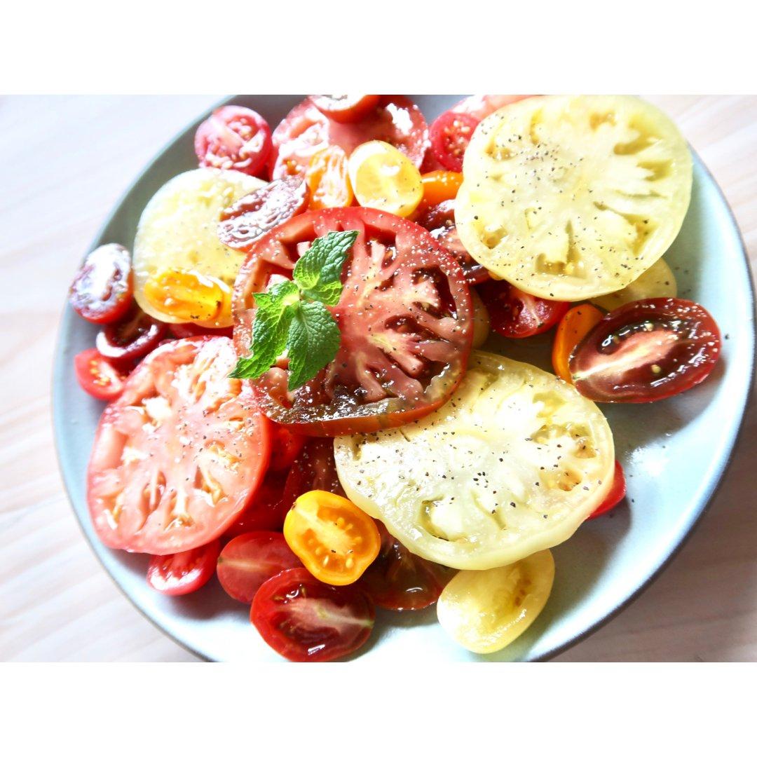 夏日轻食最爱开胃凉菜~西餐五彩番茄色拉