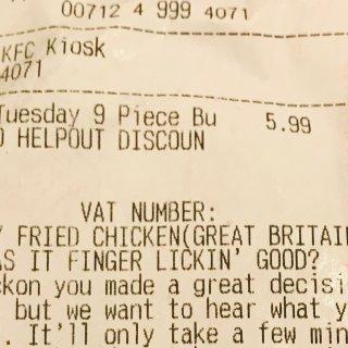 KFC 周二 2.99镑 9块原味鸡...