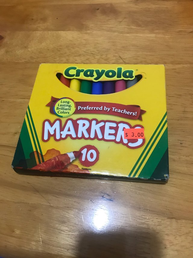 买了Crayola的马克笔10支$...