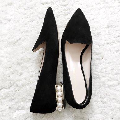 珍珠鞋跟乐福鞋 官网定价$450