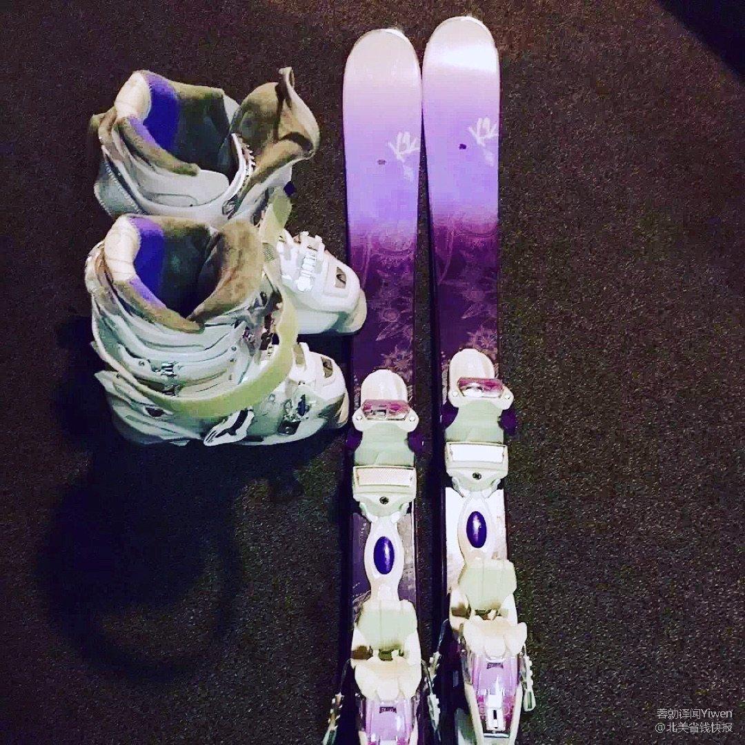 喜欢紫色,所以买的的滑雪板和滑雪靴...
