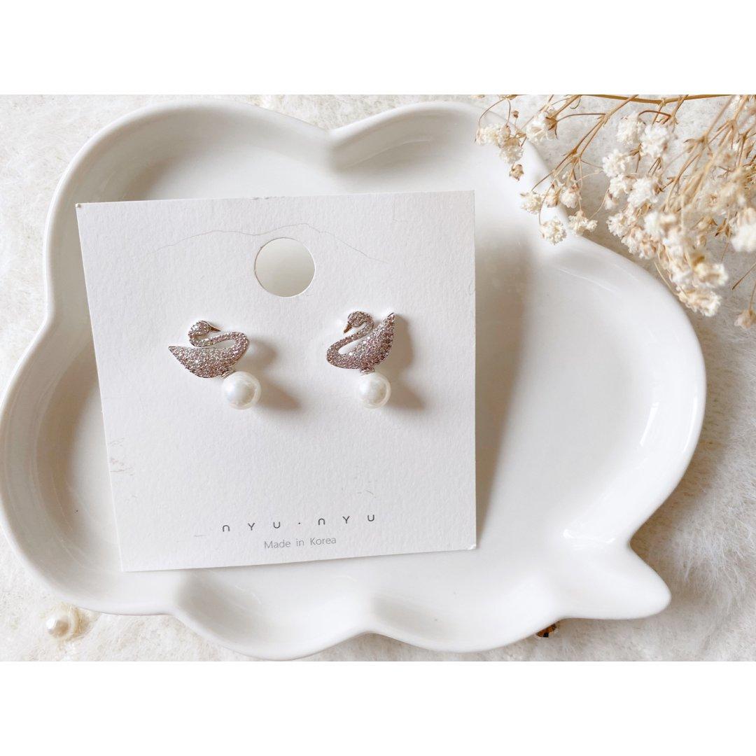 ❣飾物❣ 百搭天鵝珍珠耳環 🦆
