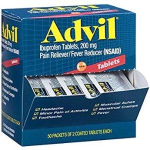 $9.48 免邮 便捷家庭装Advil 止痛/退烧/感冒药 2粒装 共50包独立包装