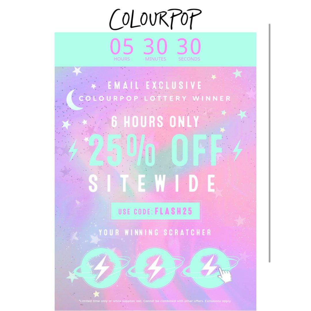 Colorpop 75折 仅限六小时!