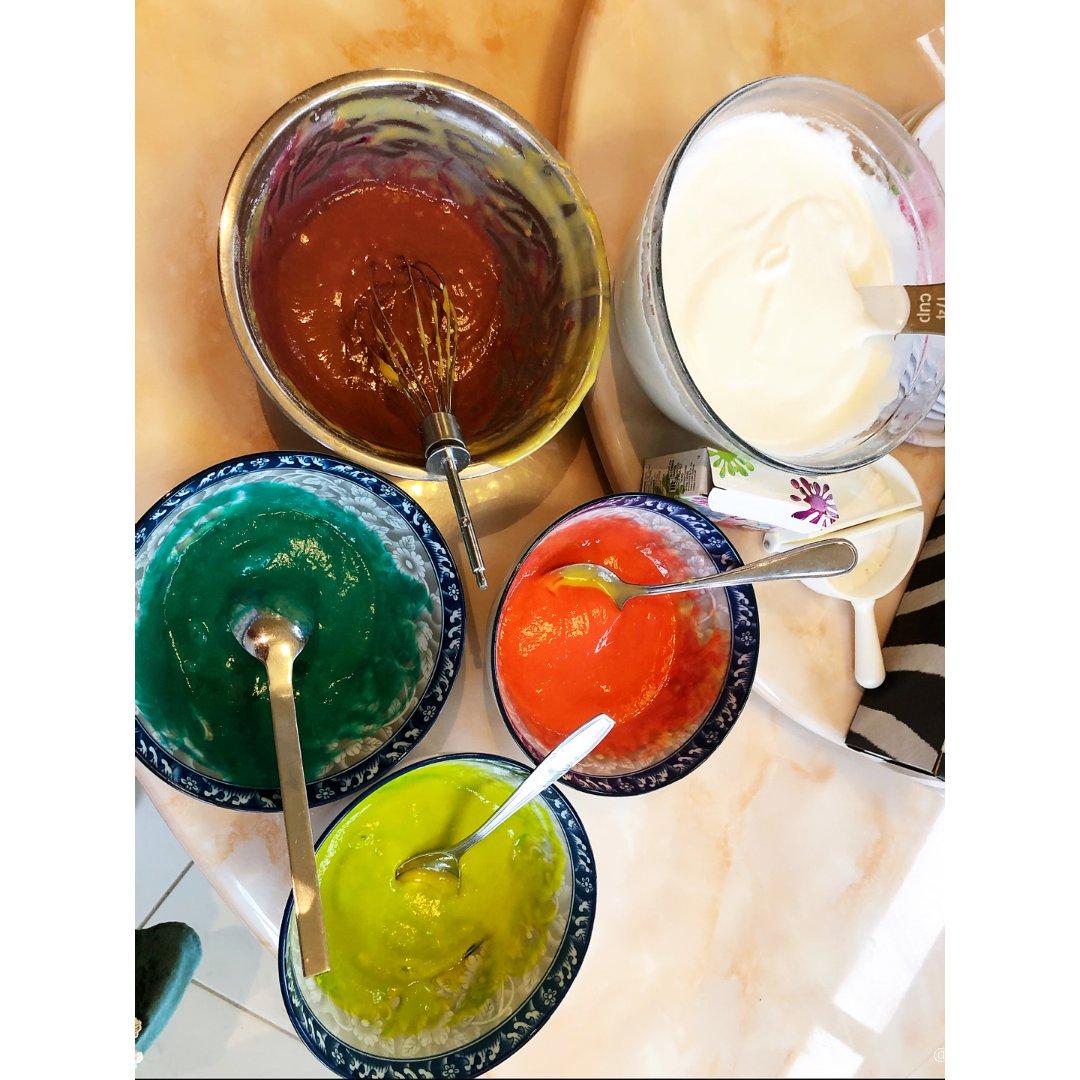 颜值爆表的彩虹🌈鸡蛋糕 你也可以做...