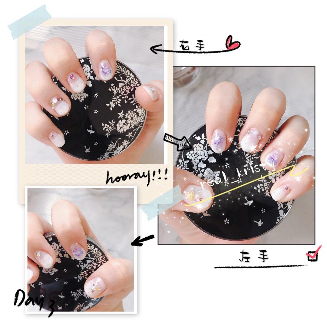 美甲DIY|棉花糖白色➕紫色贝壳