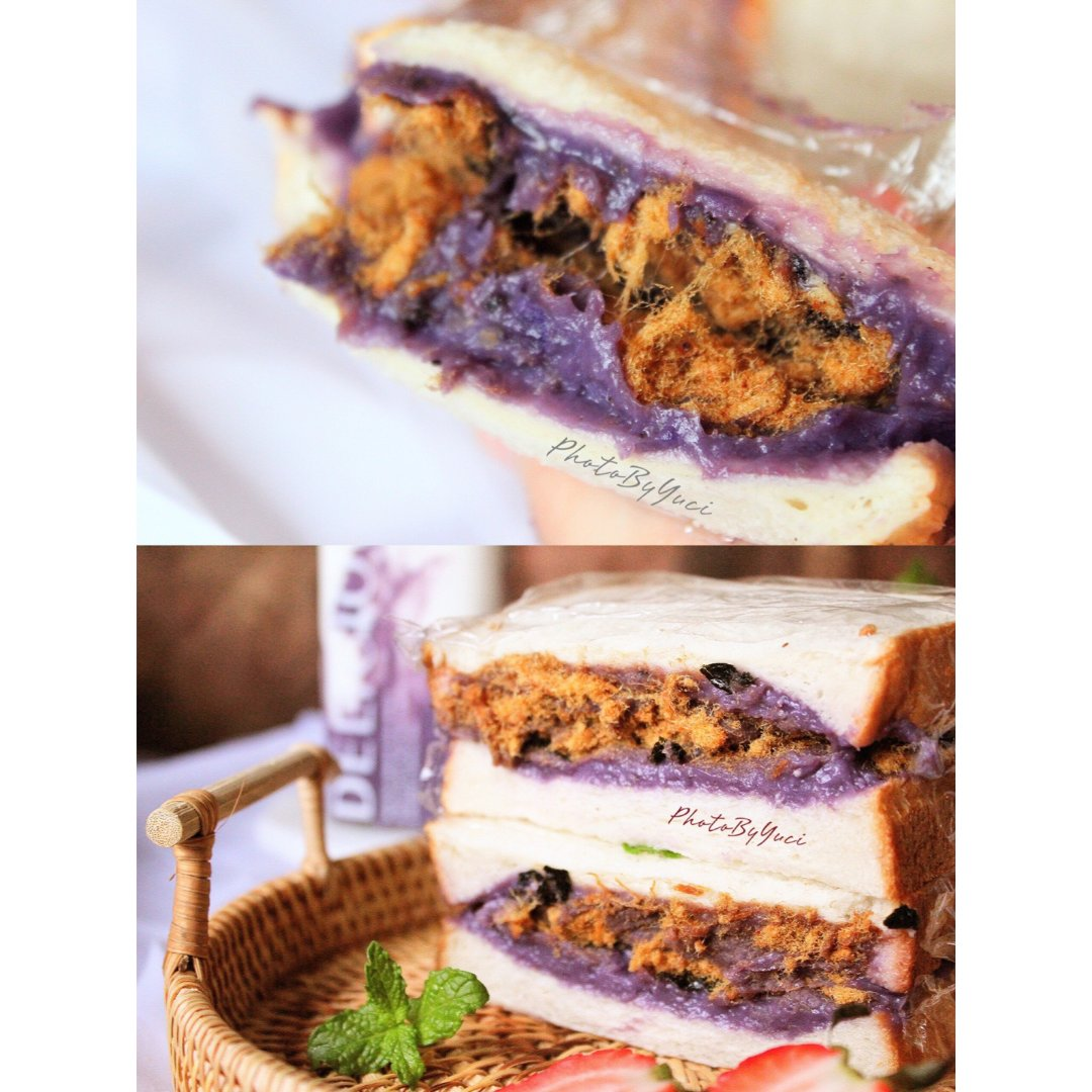 吐司心里软😊紫薯芋泥三明治😋🍰