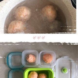 辅食记   简单好吃的虾仁包心丸做法分享...