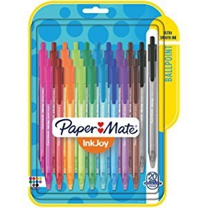 $6Paper Mate InkJoy 300RT Retractable Ballpoint Pens, Medium Point, 10 Ink Colors, 24 Pack (1951398)