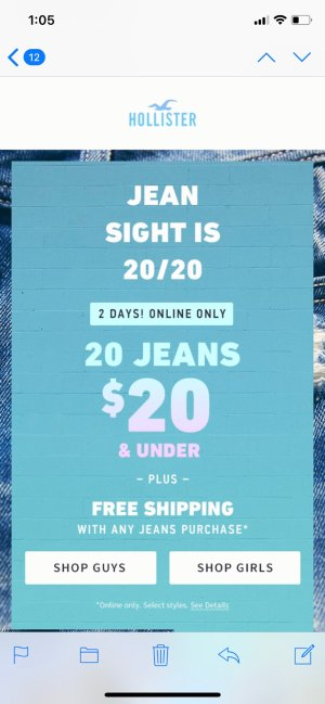 $20.00HollisterCo.com牛仔裤