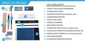 Amazon.com: Bellofy 33-piece Professional Art Kit - Drawing and Sketch Kit with Pencils, Erasers, Kit Bag and Free Sketchpad - Art Supplies, Drawing Pencils, Graphite Pencils, Sketching Supplies