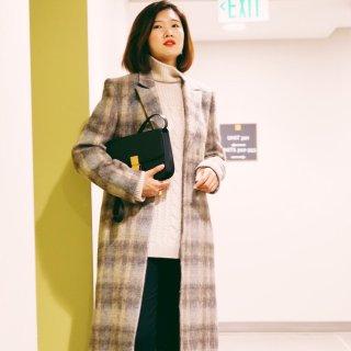 格纹大衣+小众首饰分享...