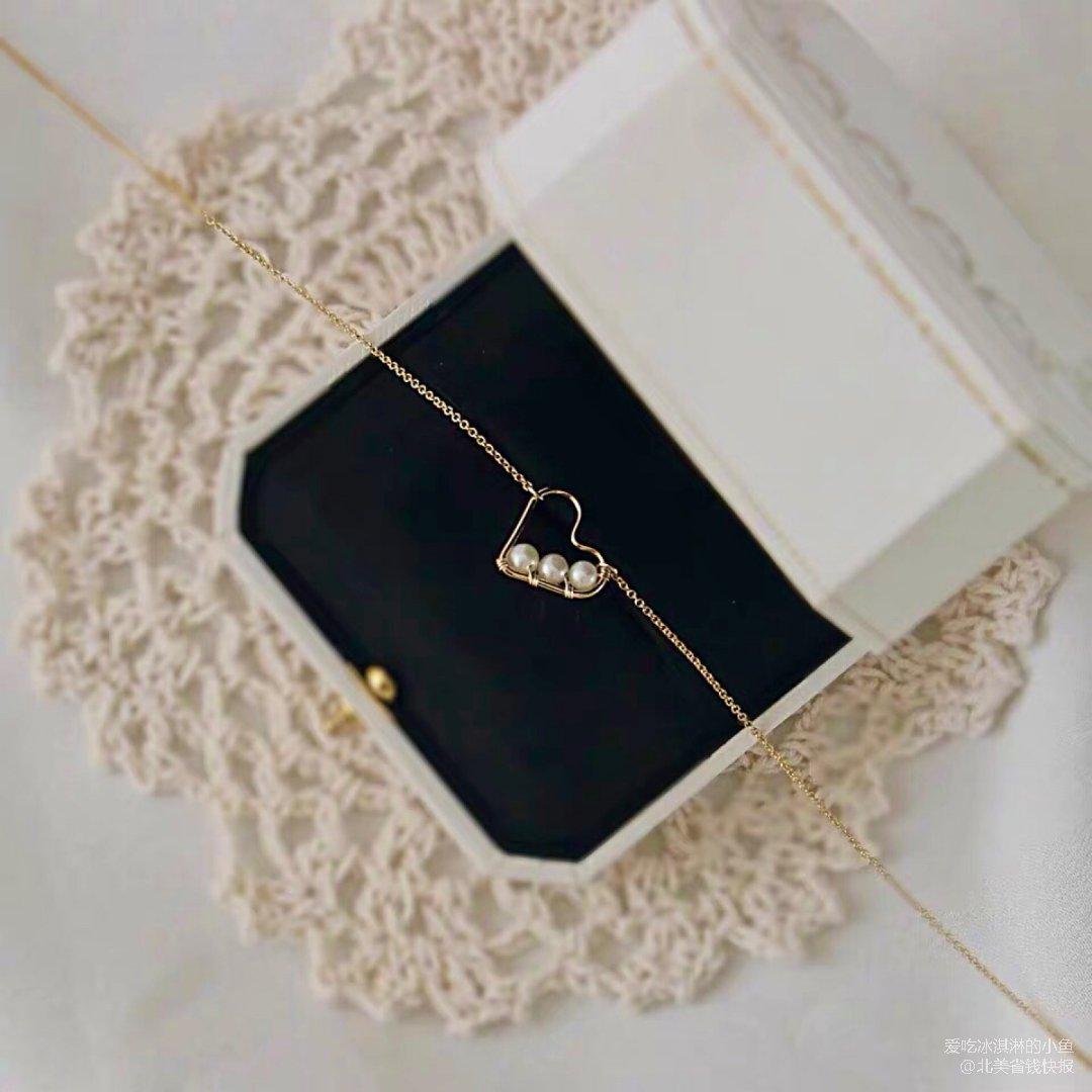锁骨链💗天然珍珠爱心