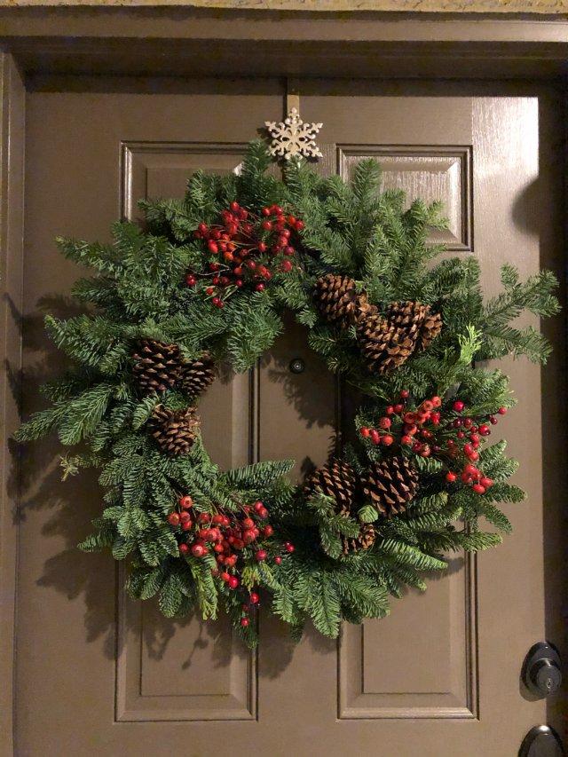 圣诞节门口装饰花环 漂亮又好闻