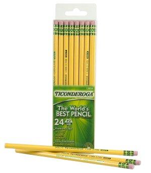 $2Dixon Ticonderoga Wood-Cased #2 HB Pencils Box of 24 Yellow