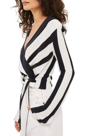Topshop Stripe Knit Wrap Top | Nordstrom