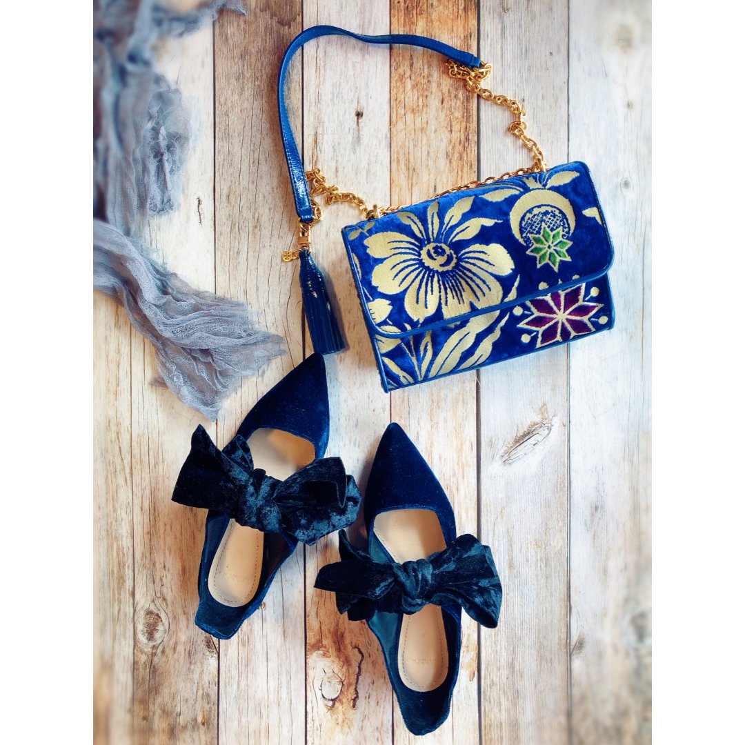 包包鞋子一个色 - 蓝