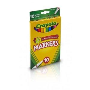 $0Crayola 10 Count Fine Tip Original Marker Set in Assorted Classic Colors