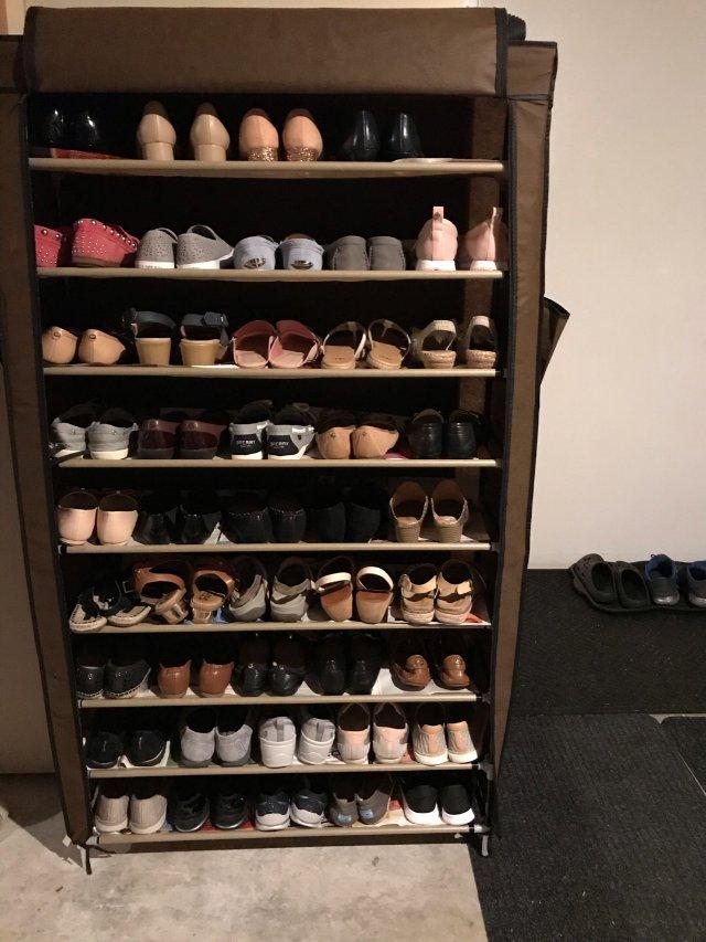 不闲置:8/8 一次装50双的鞋架...