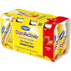 DanActive Strawberry Probiotic Dairy Drinks, 3.1 fl oz, 8 ct - Walmart.com
