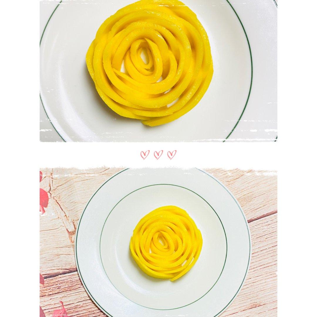 情人节水果盘之芒果玫瑰花