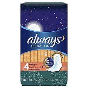 $8.99 包邮Always 夜用大容量卫生巾 28片 x 3盒 共84片