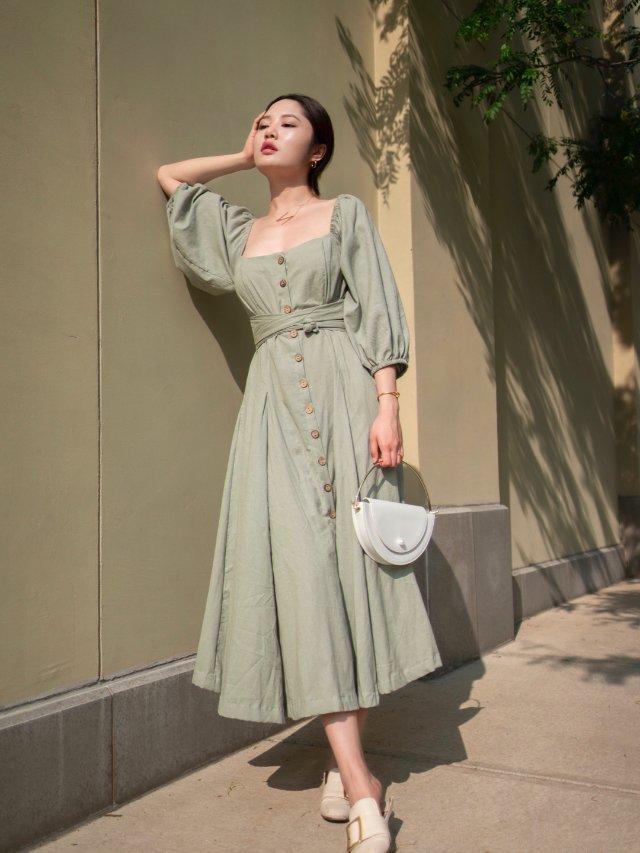 夏日穿搭 / 抹茶绿连衣裙