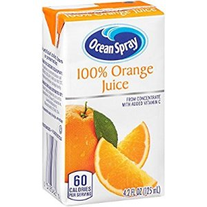 $8.42 Ocean Spray 100% Orange Juice 4.2 Ounce Juice Box Pack of 40