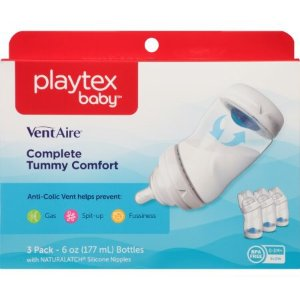 $7.09Playtex 婴儿VentAire 宽口防胀气奶瓶 6oz, 3只装,可拆卸底部