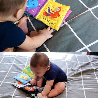 """5⃣️个月的🍼小奶娃""""看""""什么书❓📚..."""