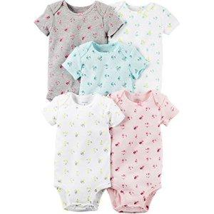 Baby Girls' 5 Multi-Pack Bodysuits, Assorted, 12 Months - Walmart.com