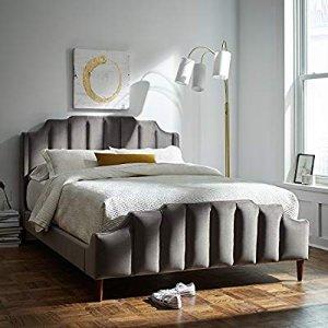 Amazon.com: Rivet Gwyneth Mid-Century Velvet Queen Bed, 92.1