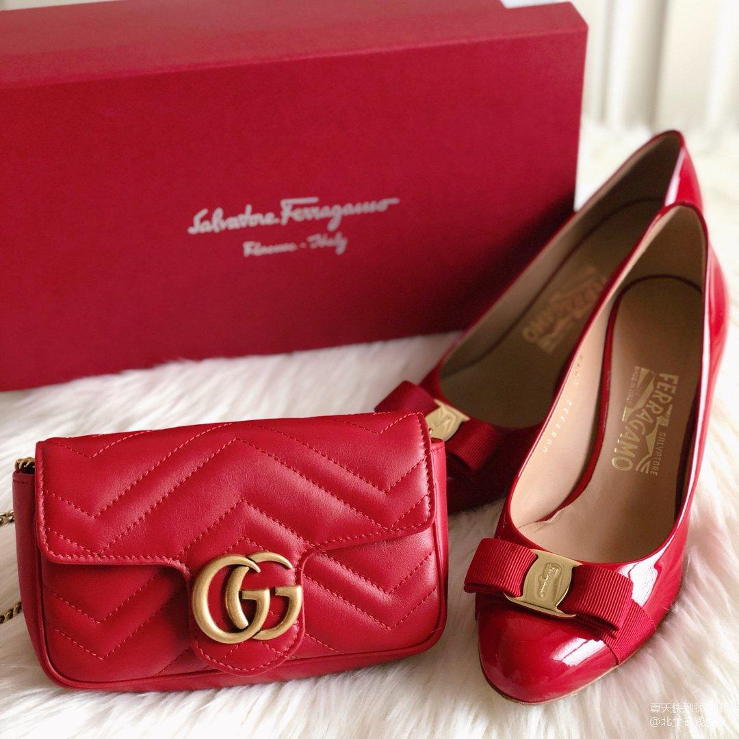 3⃣️包包鞋子一个色:大红色💄