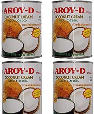 Aroy-D Pure Natural No Additives Coconut Cream - New Creamy Formula (19 fl oz/500ml - 4 Cans): Amazon.com: Grocery & Gourmet Food