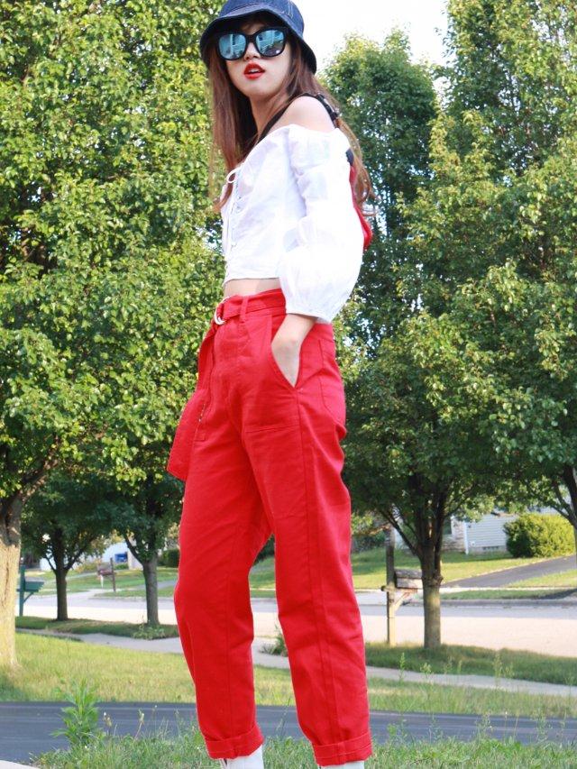 2019早秋新款——F21 红色工装裤