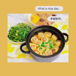 今日晚餐 美食教程 油豆腐酿肉丸🍡...