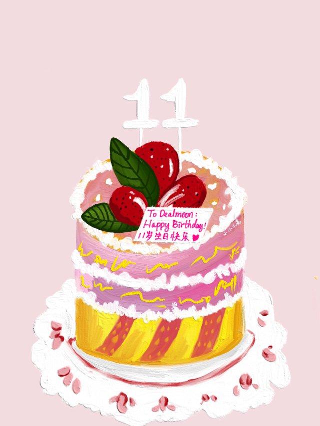 👩🏻🎨原创插画 我给君君画个蛋糕...